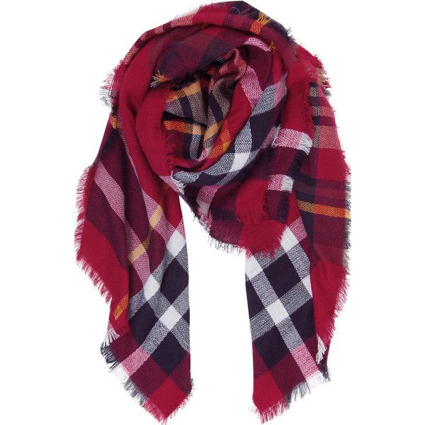 Humble Chic NY Plaid Blanket Scarf (320 NOK) ❤ liked on Polyvore featuring accessories, scarves, red, red shawl, plaid scarves, knit shawl, sheer scarves and red plaid scarves