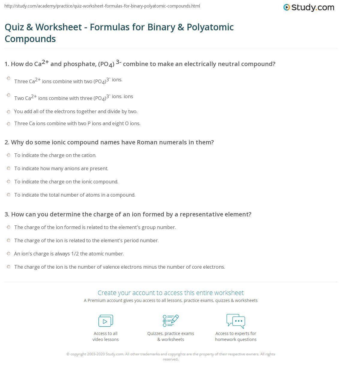 Naming Polyatomic Ions Worksheet Quiz Worksheet Formulas For Binary Polyatomic In 2020 Worksheets Kids Worksheets Printables Vocabulary Sentences