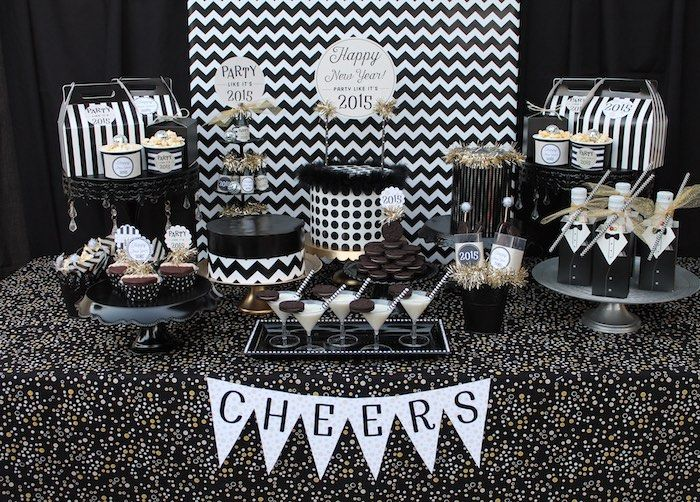 c8922589480 Black   White New Year s Eve Party via Kara s Party Ideas KarasPartyIdeas.com  The Place For ALL THINGS PARTY!  newyears  newyearseve  newyearseveparty ...