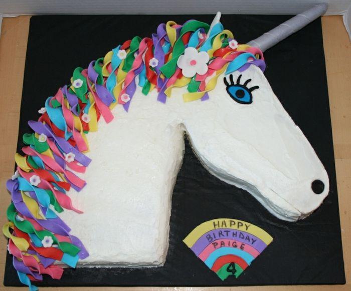 Einhorn Torte Kindergeburtstag Ideen Fondant Sahne Kuchen