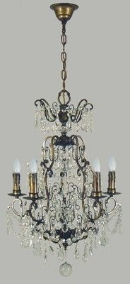 Luv the idea of crystal pendants in the kitchen  QUEEN VICTORIA ANTIQUE BRASS 5 LIGHT PENDANT