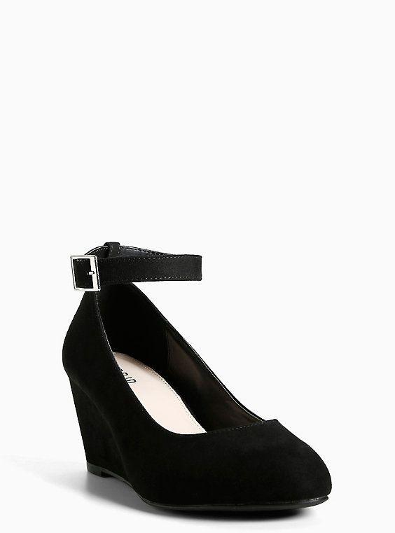 d99a7c55c5f0 Faux Suede Ankle Strap Mini Wedges (Wide Width)