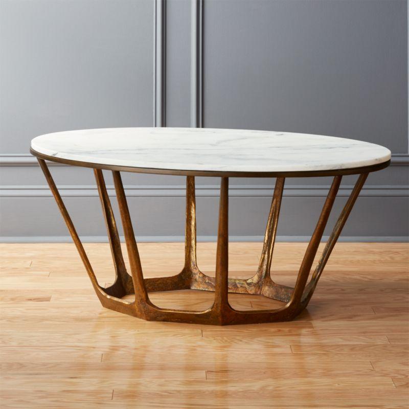 On Sale Shop Parker Oval Marble Coffee Table Cast Aluminum Base