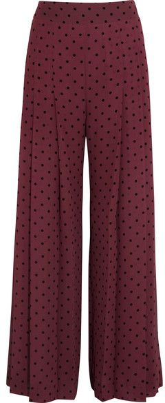 91459b78 See by Chloé - Pleated Polka-dot Crepe Wide-leg Pants - Burgundy ...