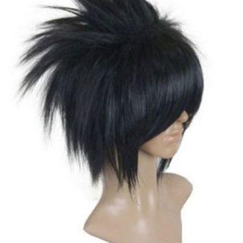Uchiha Sasuke Cosplay Wig Black Short Layered Synthetic Hair Wigs for Men