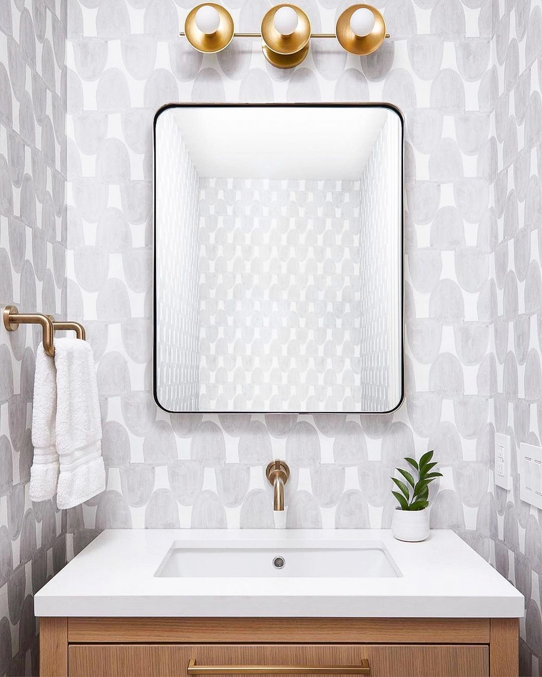 Katie S Wallpaper Installation On Instagram Installed The Arch Wallpaper By These Walls In This Beautiful In 2021 How To Install Wallpaper Powder Room House Rooms