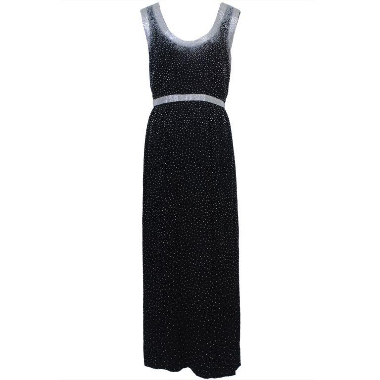 BLACK SILK '60S GOWN WITH WHITE BEADING