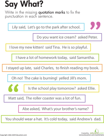 practice with quotation marks in dialogue this can be used as part of a dialogue lesson students can then write a story including dialogue for more