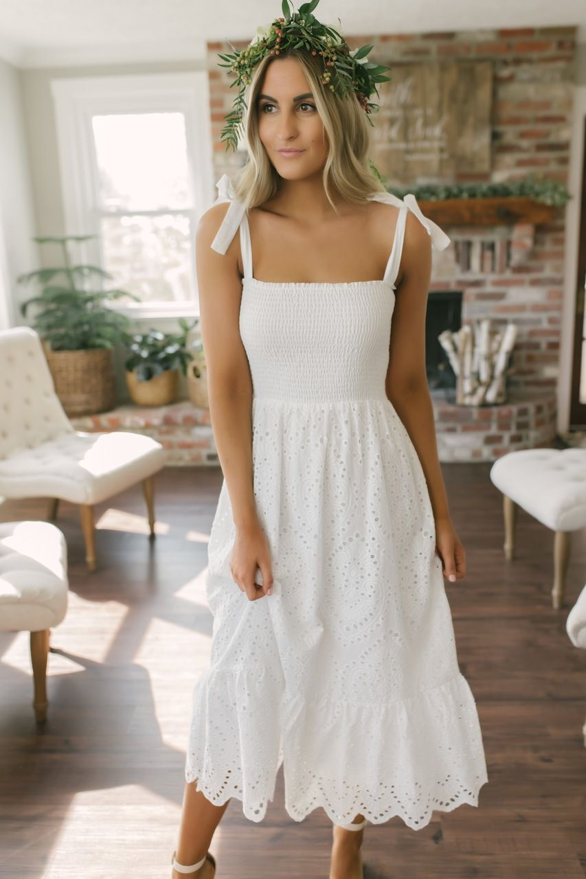 Everly Tie Strap Smocked Scalloped Eyelet Midi White White Midi Dress White Dress White Boho Dress [ 1280 x 853 Pixel ]