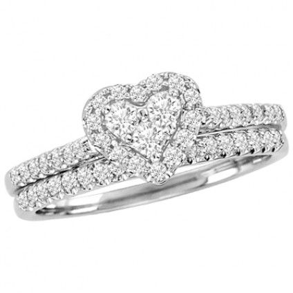 40 tcw Womens Diamond 2Piece Bridal Set in 10k White Gold