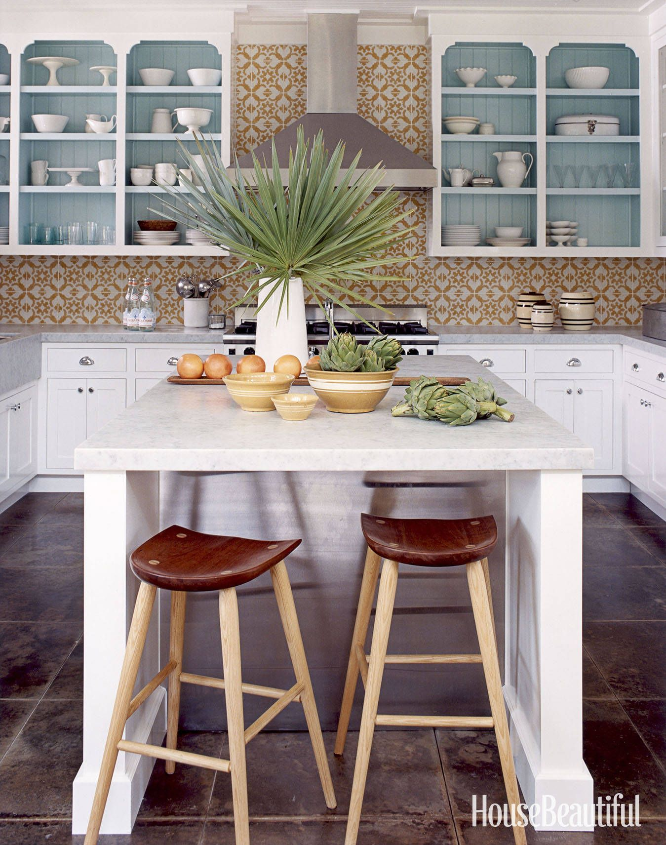 15 Kitchens That Will Convince You To Try Open Shelving Colorful Kitchen Decor Tropical Kitchen Decor Tropical Kitchen