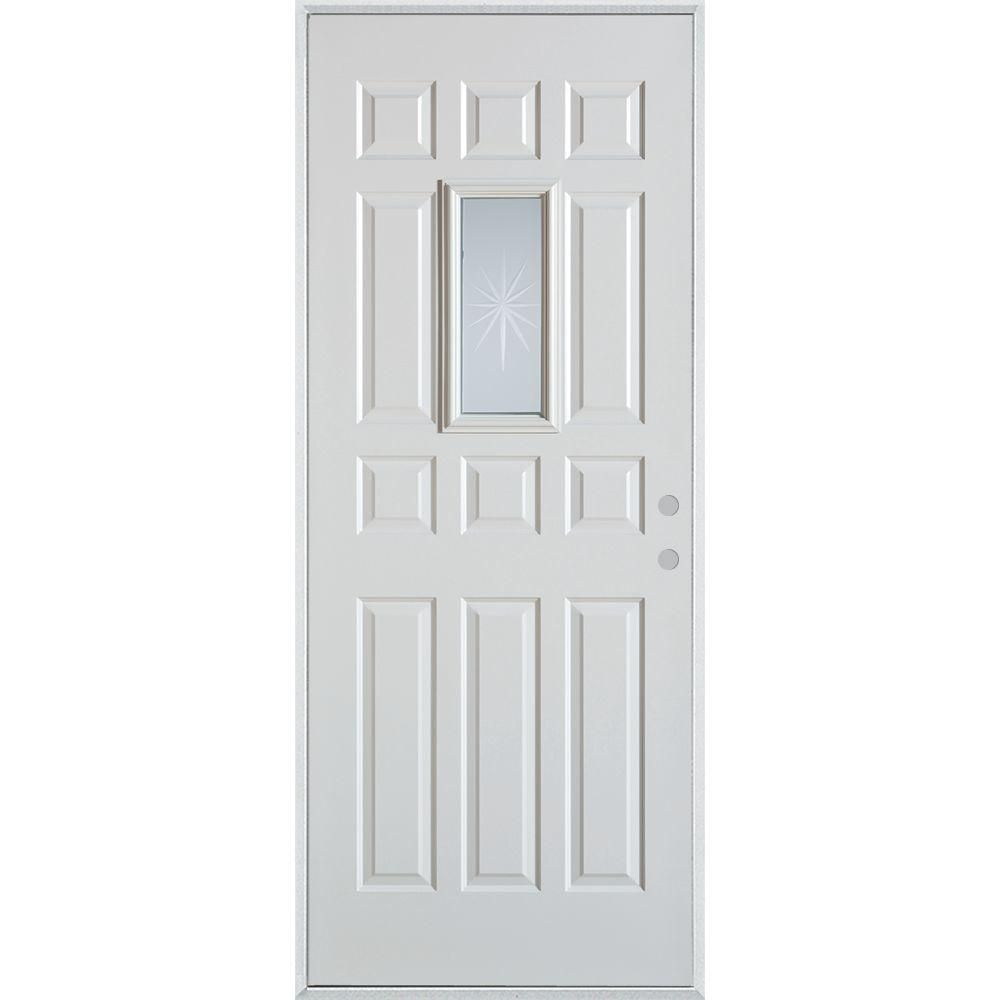 Stanley Doors 36 In X 80 In V Groove Rectangular Lite 12 Panel Prefinished White Right Hand Inswing Steel Prehung Front Door 3010t T12 36 R The Home Depot Stanley Doors Painted Paneling Elegant Entryway