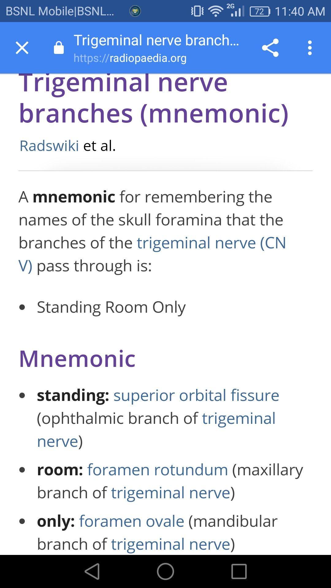 Trigeminal Nerve Branches Mnemonic Medical Student Study Trigeminal Nerve Branches Student Studying