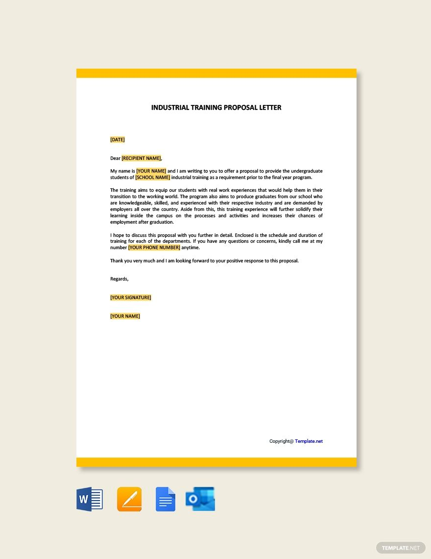 Free Industrial Training Proposal Letter Proposal Letter
