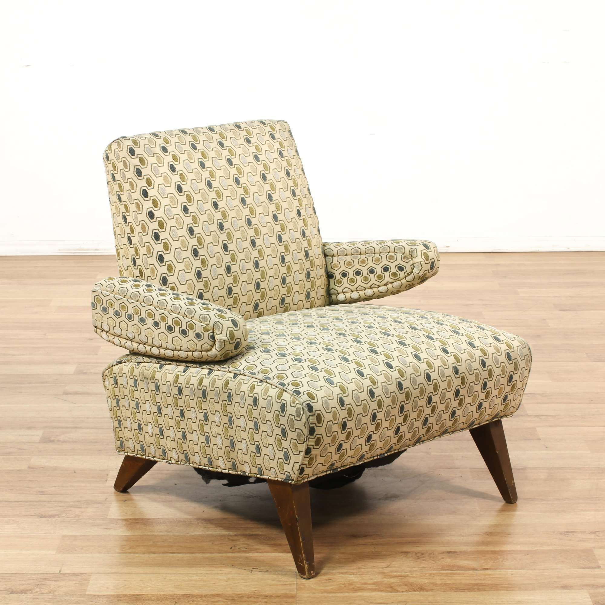 furniture armchair chair angeles pattern frame w wood oversized upholstery patterned arm loveseat i los vintage large