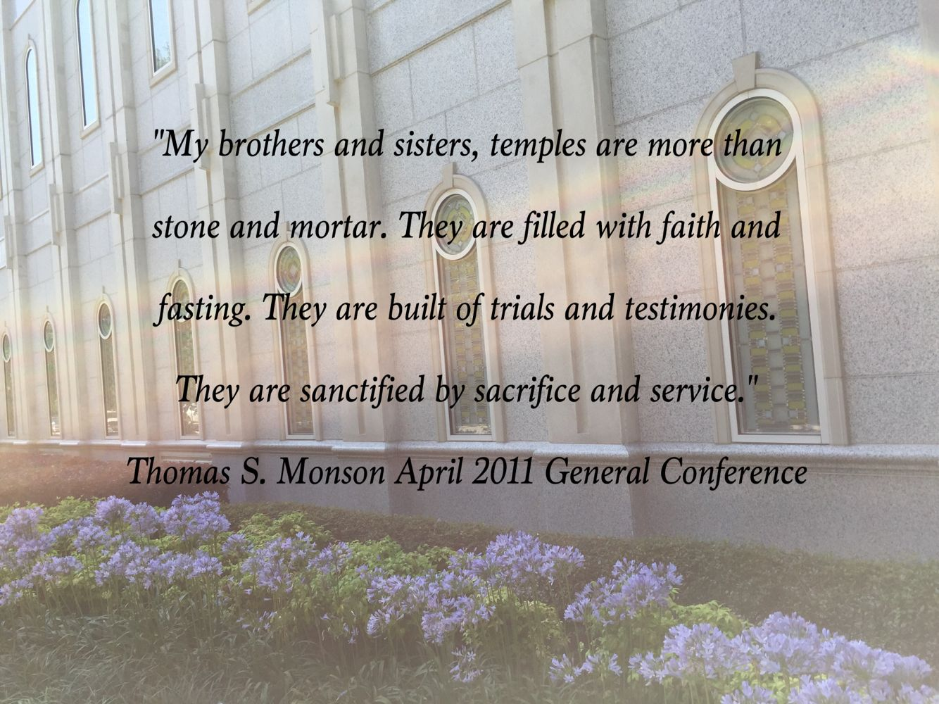 https://www.lds.org/general-conference/2011/04/the-holy-temple-a-beacon-to-the-world?lang=eng   The temple truly is a beacon to the world!
