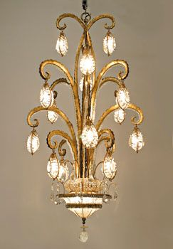 Taking After The 1930 S Designs Of Bagues The Octopus Chandelier Is A Burst Of Gilt Metal Tentacles Dripping Wit Chandelier Art Nouveau Lamps Glass Chandelier