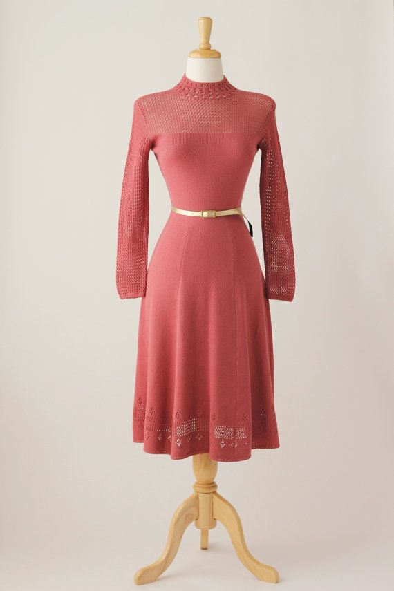 Reserved1970s Vintage Mauve Crochet Dress Get In My Closet