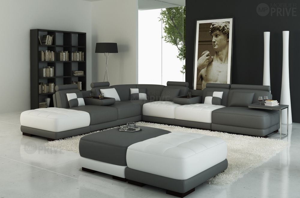 canap d 39 angle en cuir italien 7 8 places elixir gris. Black Bedroom Furniture Sets. Home Design Ideas