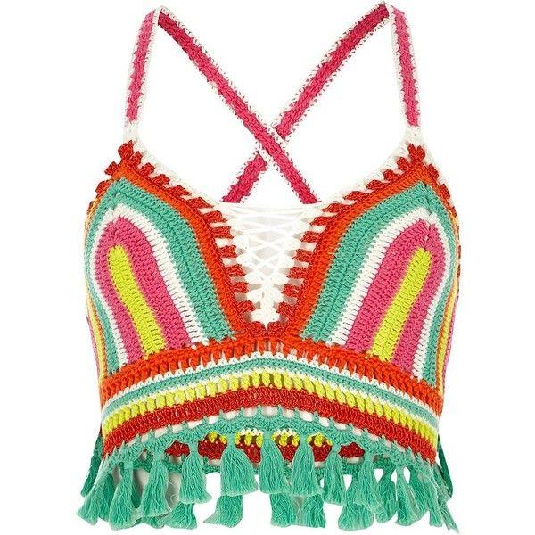 8accdf49714af River Island Pink stripe crochet tassel hem bralet ( 80) ❤ liked on  Polyvore featuring tops