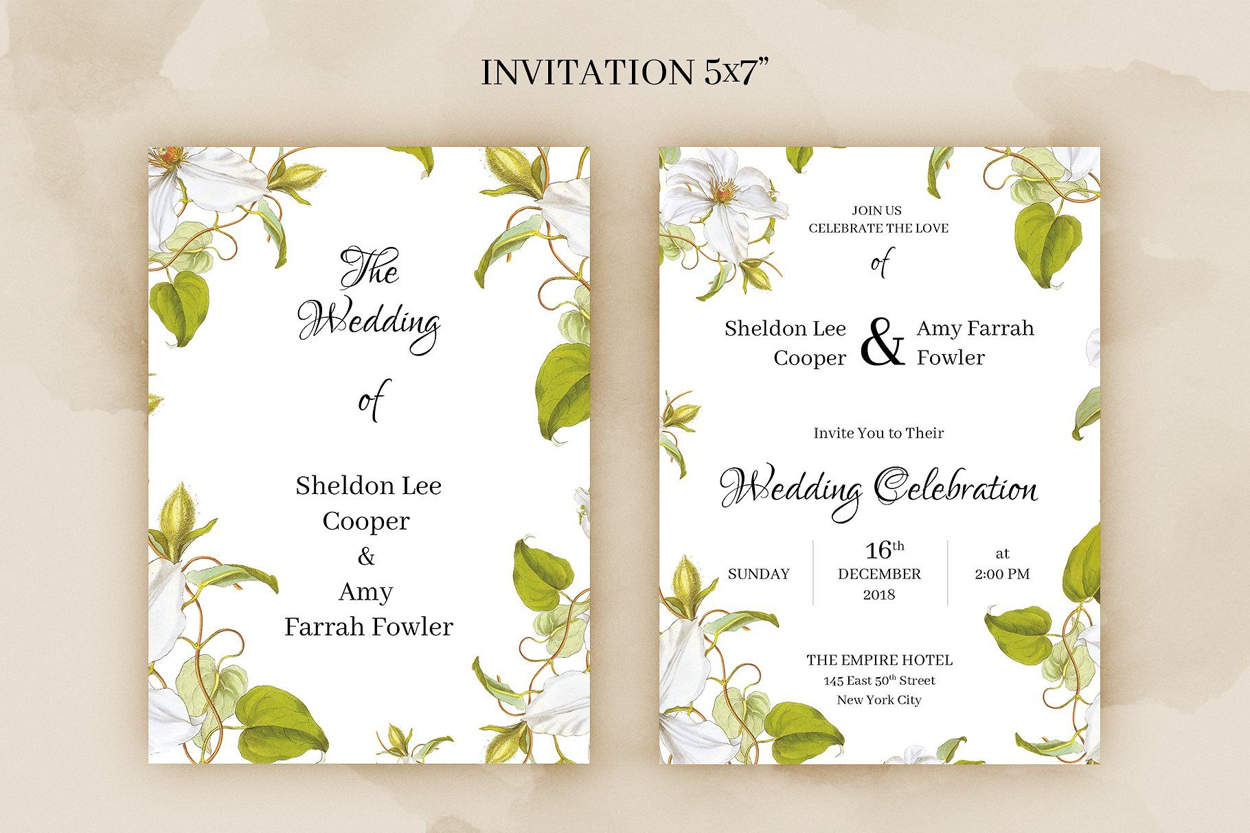clematis wedding invitation clematis place card and table numbers