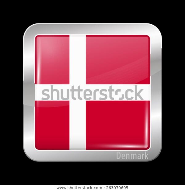 Flag Denmark Metal Icons Square Shape Stock Vector Royalty Free 263979695 Flag European Flags Denmark Flag