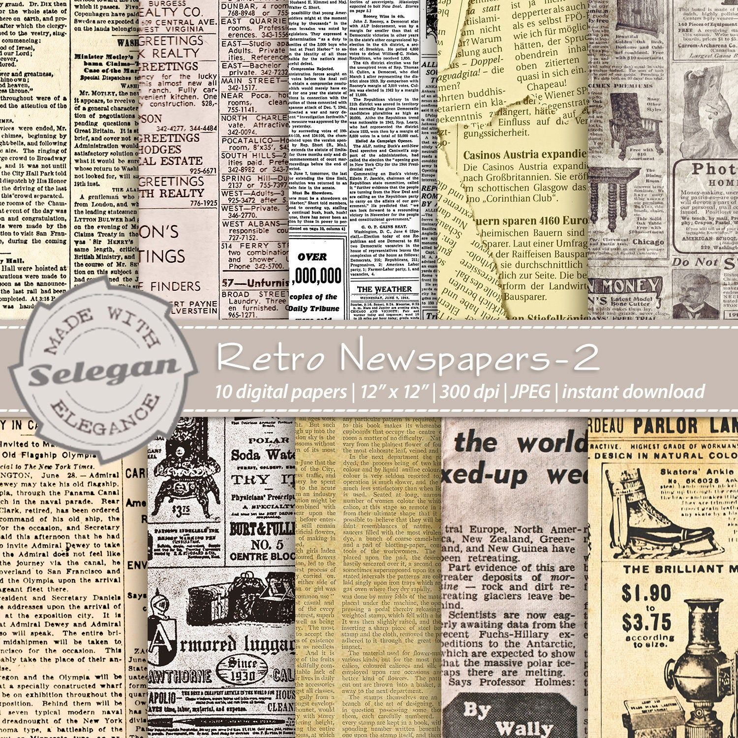 Retro Newspapers 2 Old Magazine Vintage Journal Digital Etsy In 2020 Vintage Journal Digital Scrapbook Paper Old Magazines