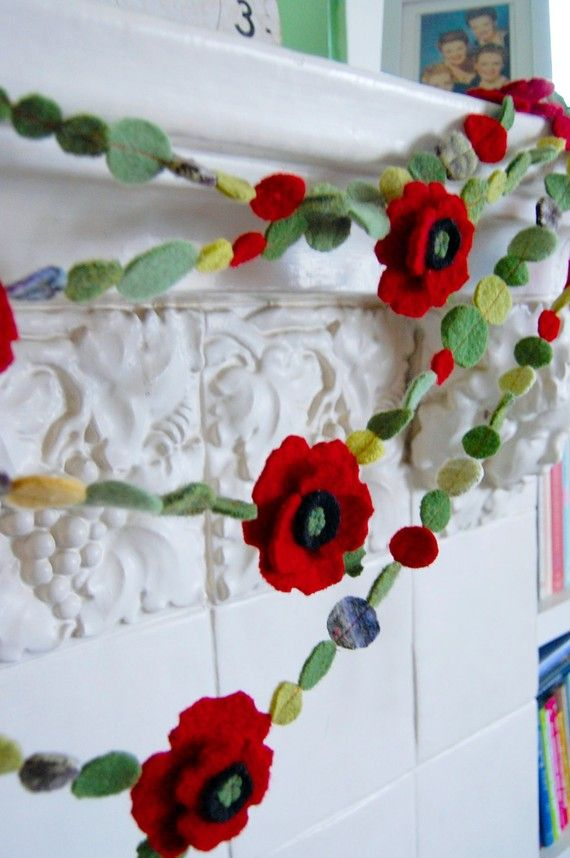2 felted red poppy garlands total of 20 feet di bigbrownhouse