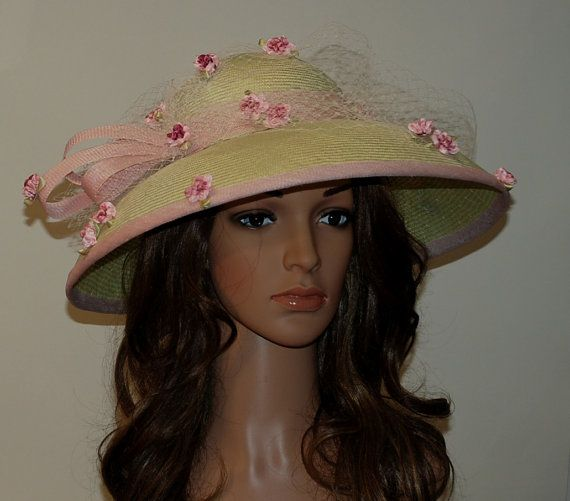 Lime green wide brim Kentucky Derby Royal Ascot by MargeIilane, $185.00