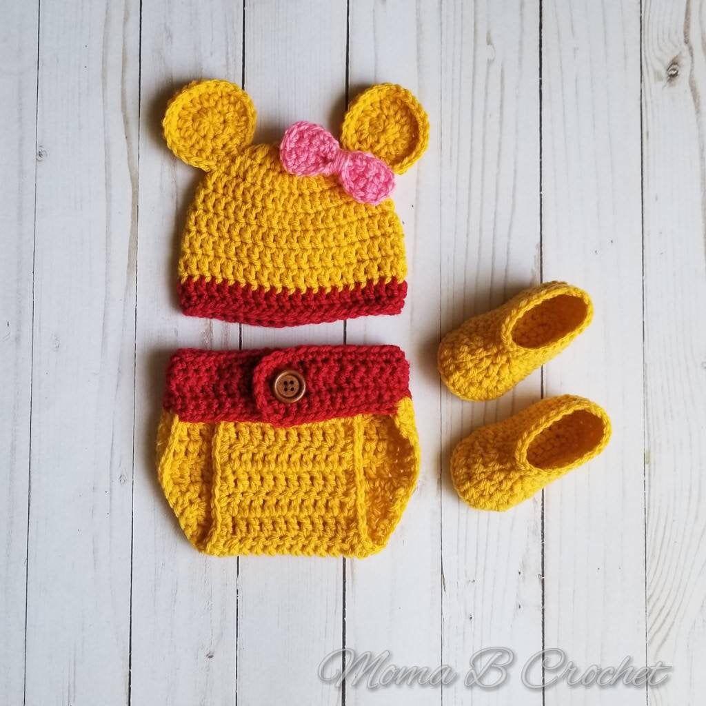 Crochet Bear Baby Set, Winnie the Pooh, Winnie the Pooh Hat, Winnie the Pooh Baby Shower, Winnie the Pooh Baby Set, Winnie the Pooh Nursery