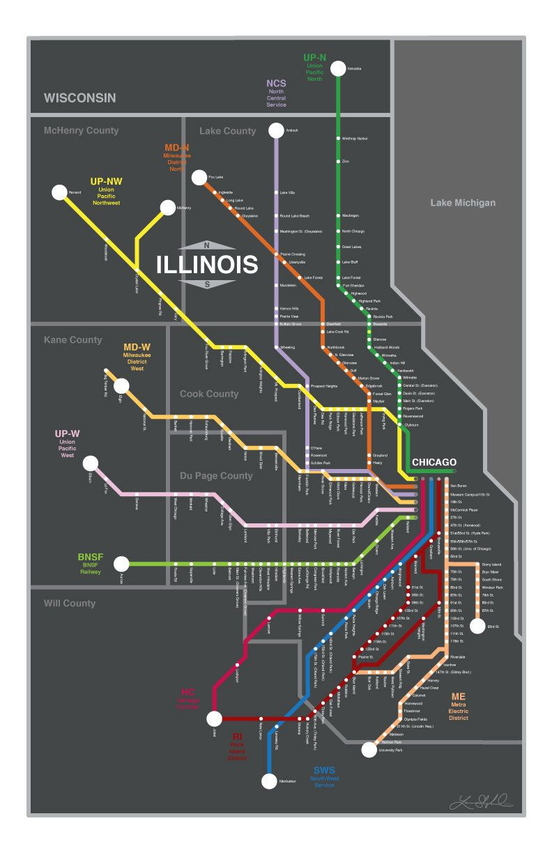 Chicago Metra Lines Map Original Graphic Design X St - Chicago map miracle mile