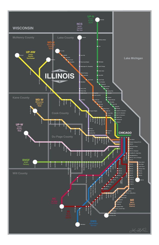 Chicago Metra Lines Map, Original Graphic Design 11x17 - 1st Edition ...