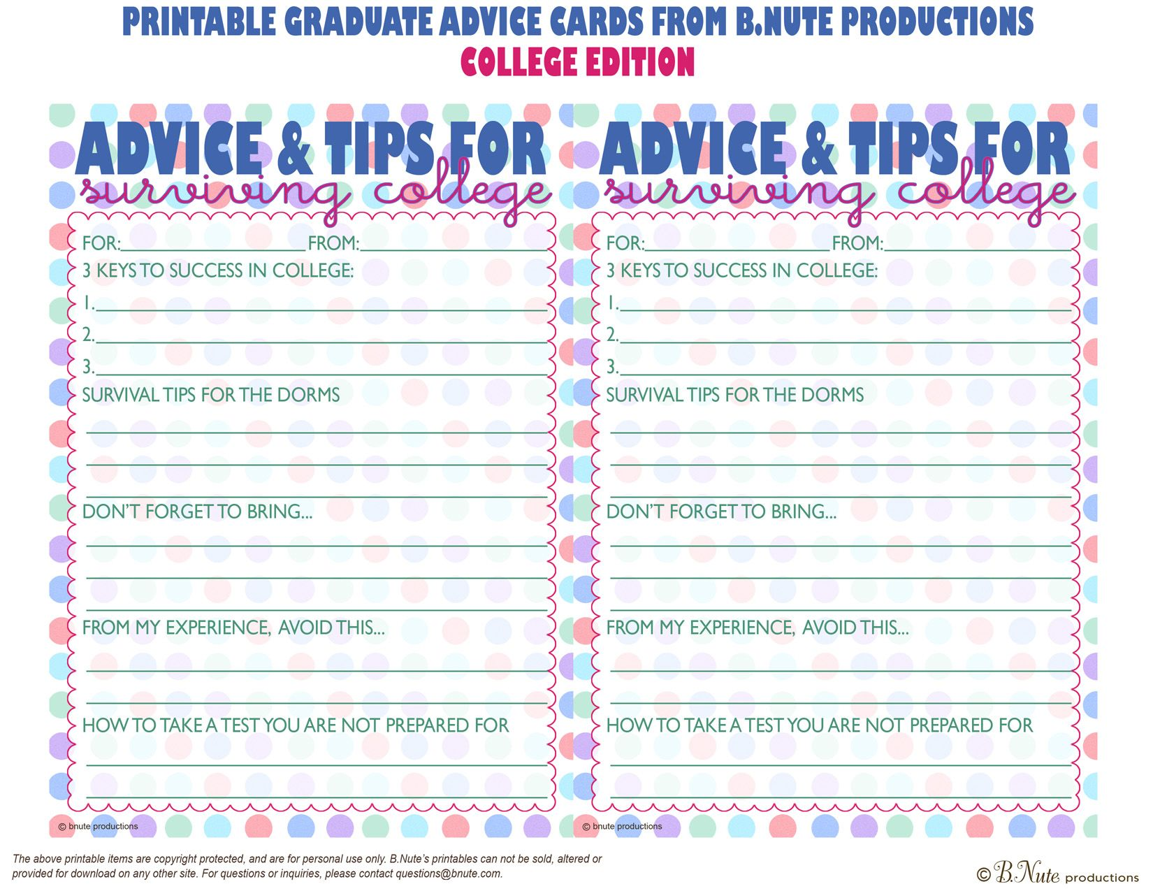 Free Printable Graduate Advice Cards