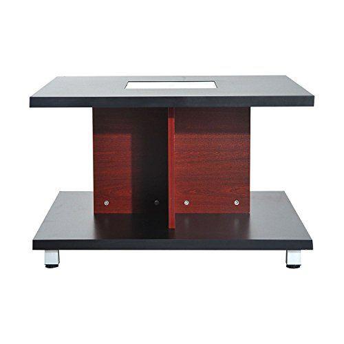 HomCom Matte Walnut Finish Inch Square Double Deck Modern Coffee - 46 inch square coffee table