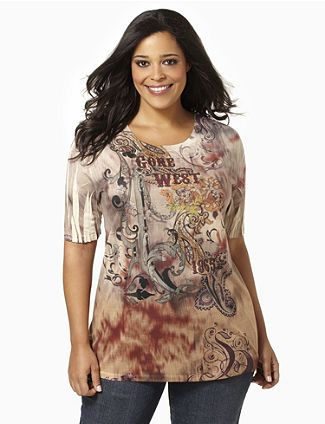 Silky fabric and a faded print create a vintage Western theme along this short-sleeve scoopneck top. Floral and paisley prints captivate at the center. Rhinestones sparkle along the Gone West text. Catherines tops are designed for the plus size woman to guarantee a flattering fit. catherines.com