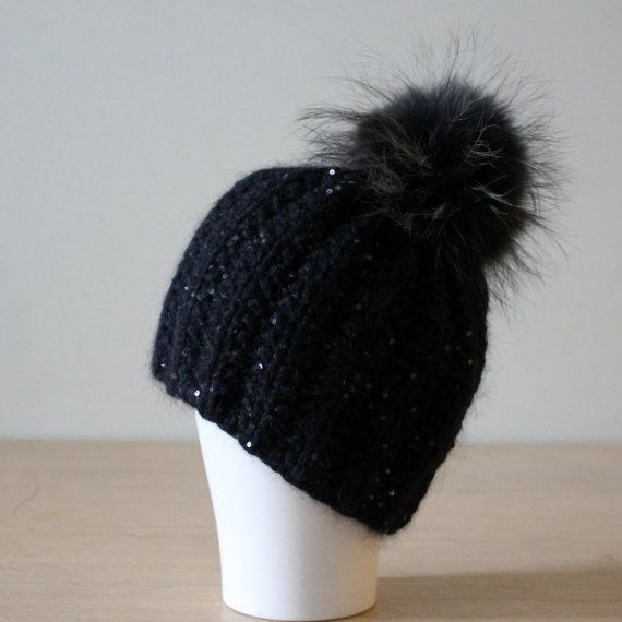 10941ec590f4e Black wool cashmere beanie hat Thick chunky by HatsAndOtherStories