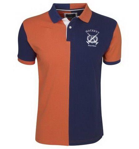 Polo ralph lauren outlet · Hackett London Half Split Short Sleeve Polo Shirt  Orange Blue