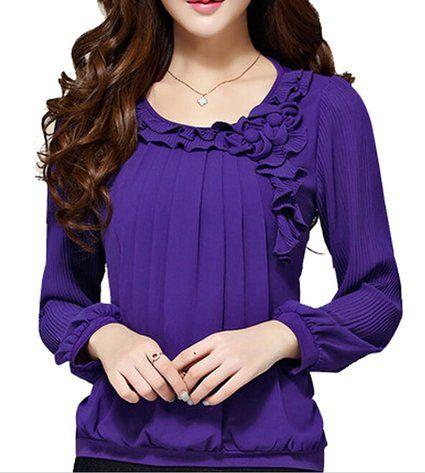 C2U Women Pullover Elegant Wave Flouncing Long Sleeve Chiffon Shirt, Purple, Medium
