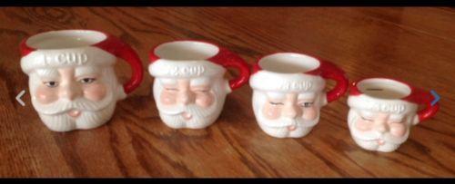 POTTERY-BARN-SANTA-CLAUS-SENTIMENT-MEASURING-CUPS-MUGS-CHRISTMAS-SET-OF-4