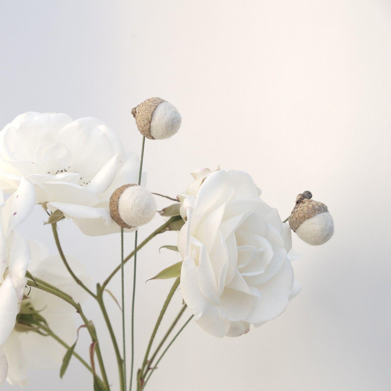 Wool Acorn Flowers Felt Craspedia Billy Button Ball Snow White