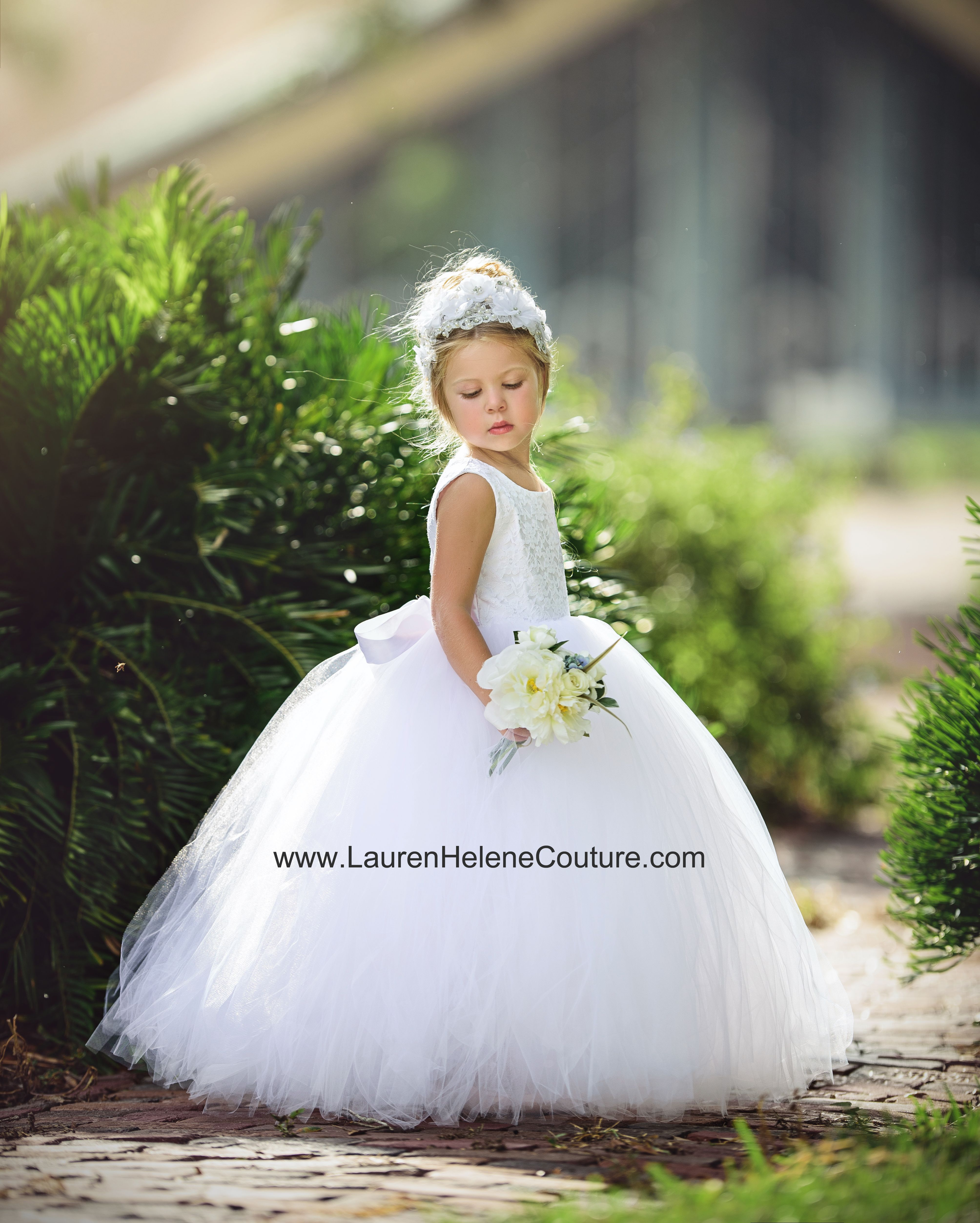Rachel white lace flower girl dress gown lace flower girls flower