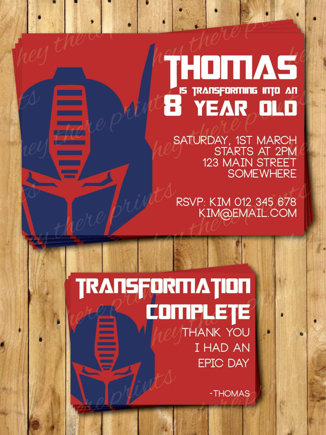 Optimus Prime Transformers Invitations and Thank You Cards ...