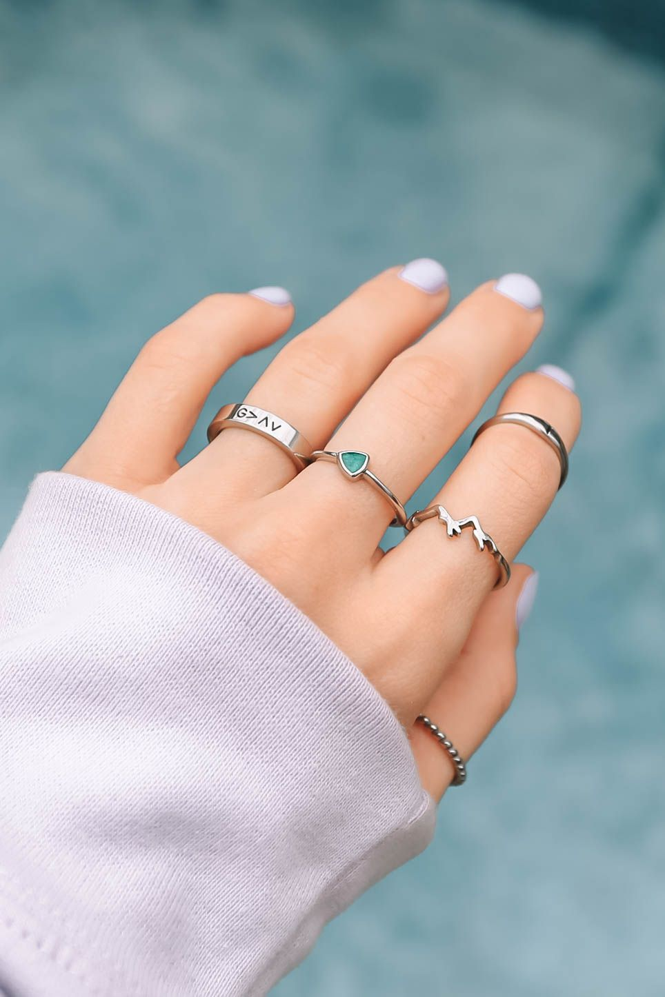 Stainless Steel l highs and lows ring l mountain ring l