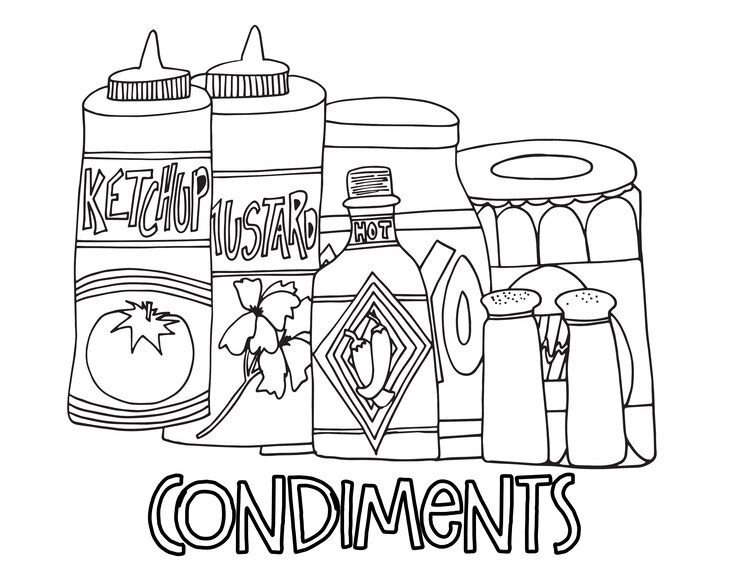 Condiments Free Coloring Page Stevie Doodles Free Coloring Free Coloring Pages Coloring Pages