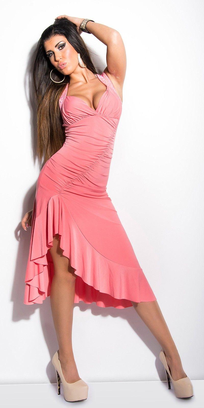 Comparte y gana un descuento Vestido Rosa Latino con Encaje en la ...