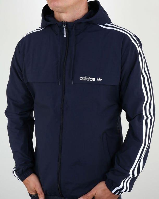 Adidas Originals 3 Striped Windbreaker Blue Jacket Rain Coat Parka