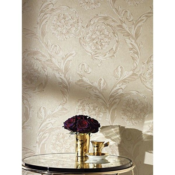 Versace Home Creamy Barocco Wallpaper (220 BAM) ❤ liked on Polyvore featuring home, home decor, wallpaper, removable wallpaper, versace home decor and versace