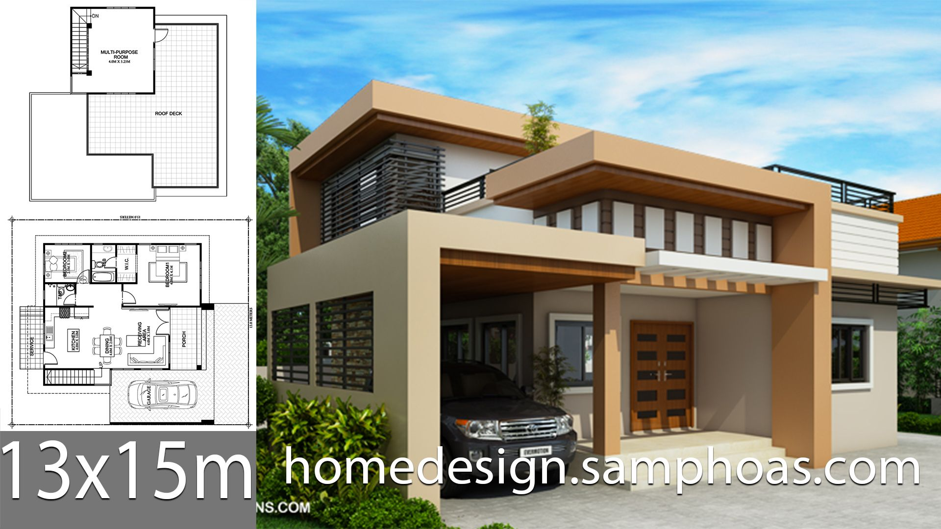 One Story House Plans 13x15m With 2 Bedrooms Simple Bungalow House Designs Bungalow House Design Beautiful House Plans