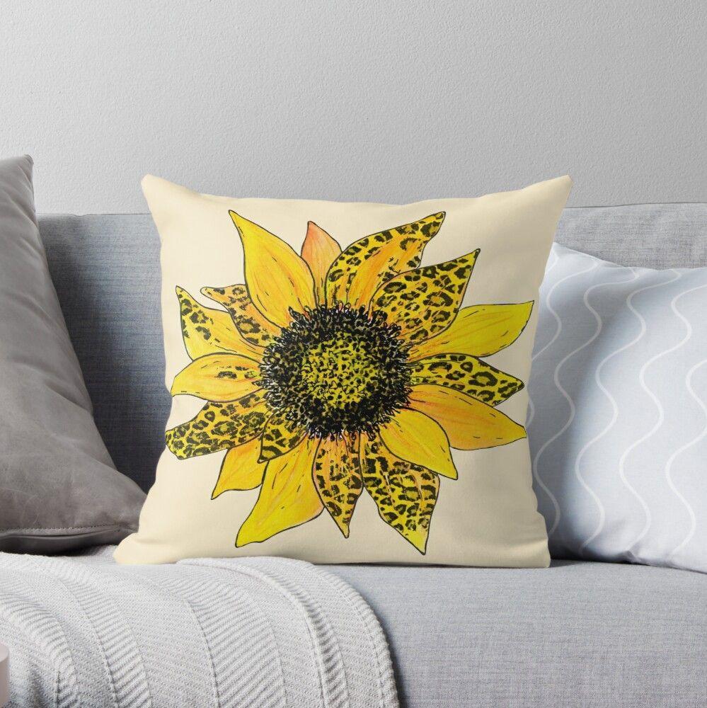 Leopard Sunflower' Throw Pillow by Ira