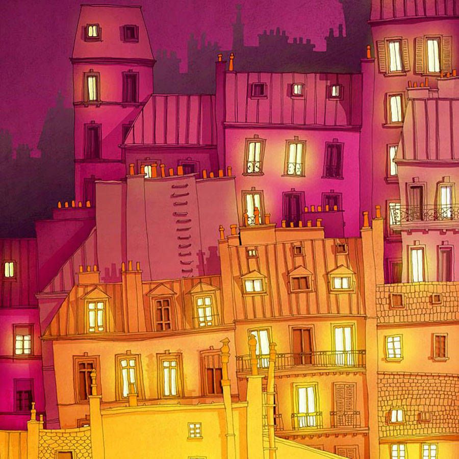 Vibrant Illustrations of the Lights of Paris